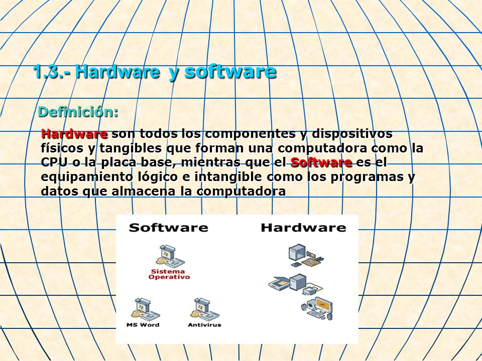 1.3.- Hardware y software Definición: