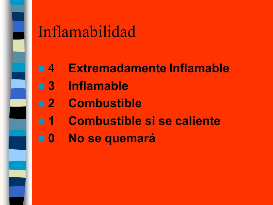 Inflamabilidad 4 Extremadamente Inflamable 3 Inflamable 2 Combustible