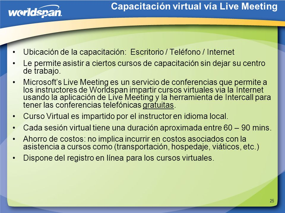 Capacitación virtual vía Live Meeting