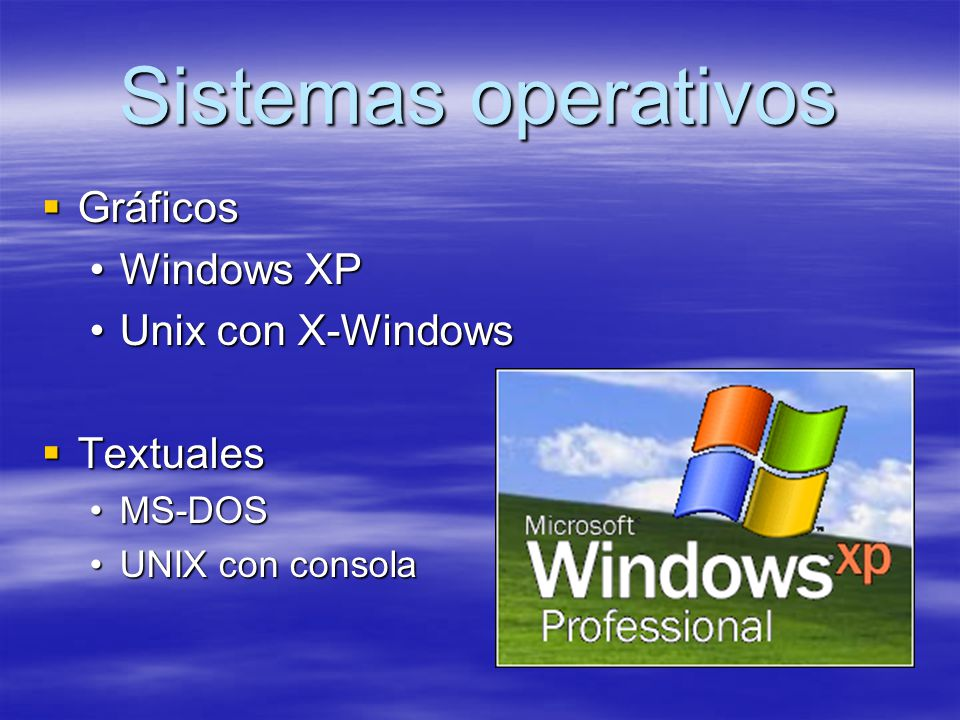 Sistemas operativos Gráficos Windows XP Unix con X-Windows Textuales