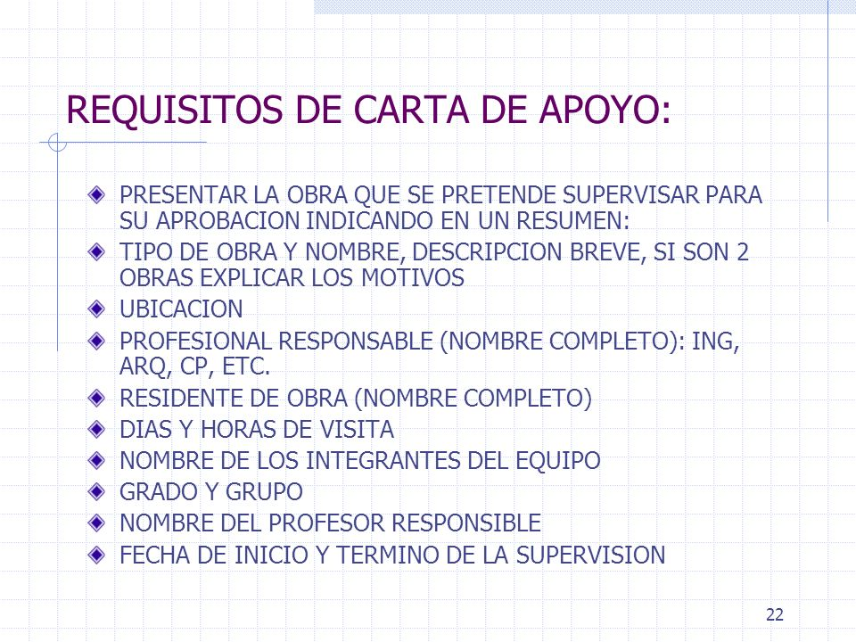 REQUISITOS DE CARTA DE APOYO: