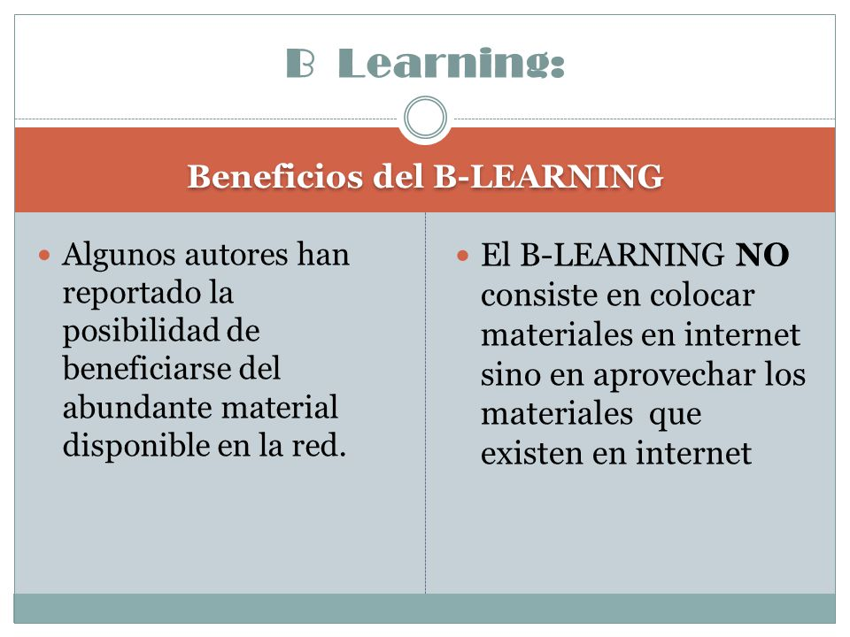 Beneficios del B-LEARNING