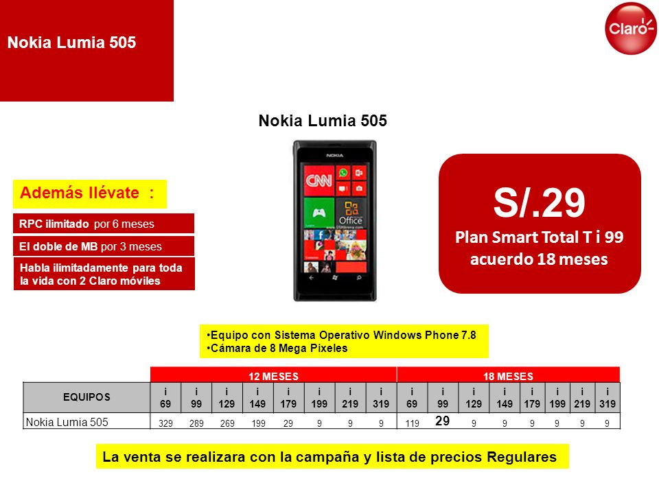 Plan Smart Total T i 99 acuerdo 18 meses