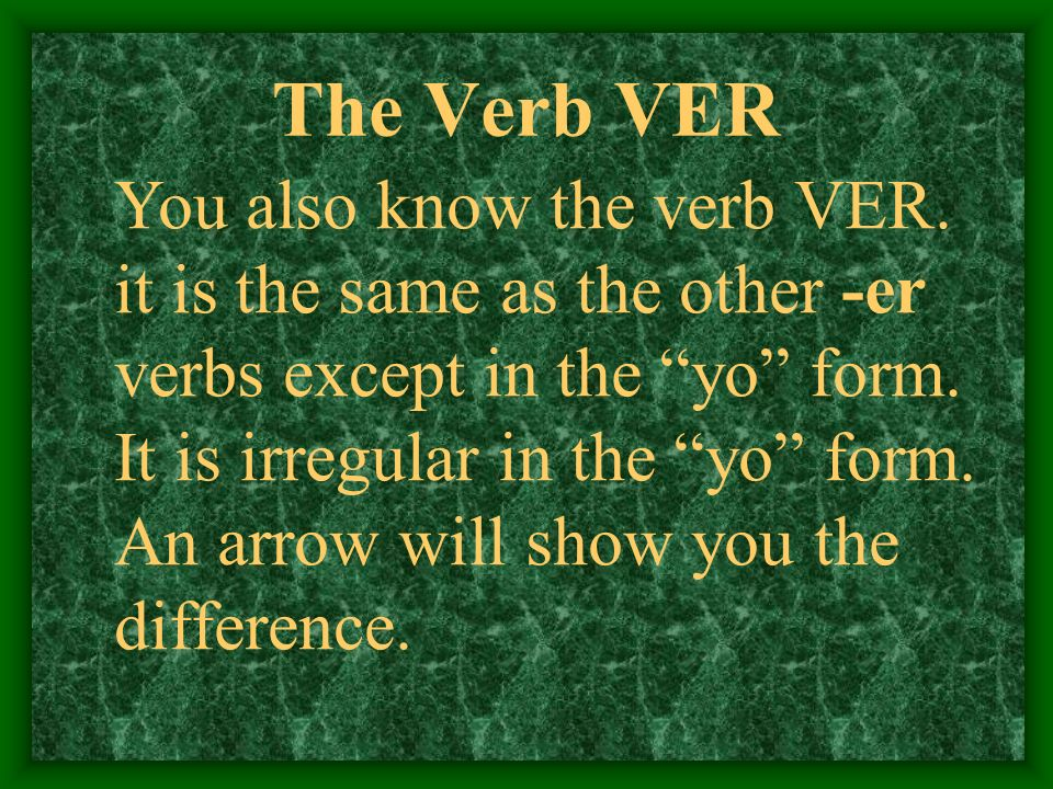 The Verb VER You also know the verb VER.