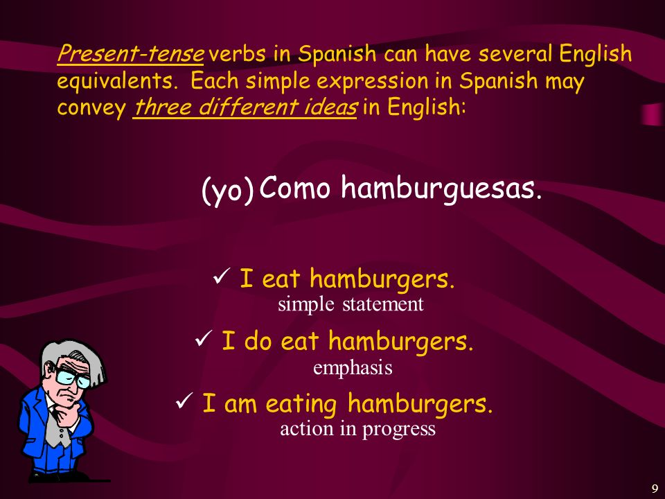 (yo) Como hamburguesas. I eat hamburgers. I do eat hamburgers.