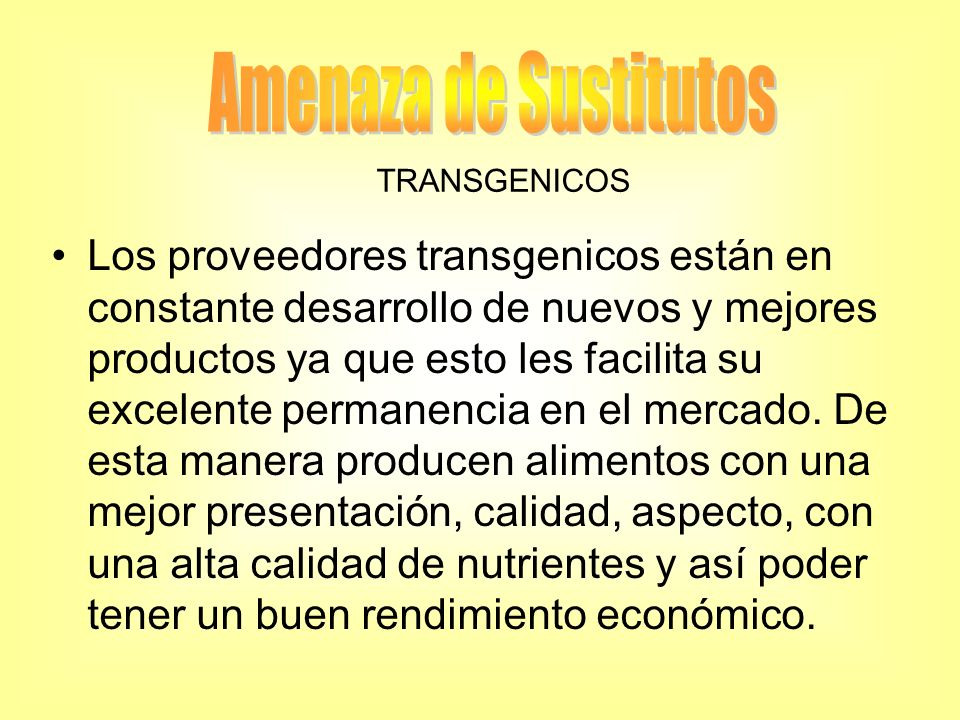 Amenaza de Sustitutos TRANSGENICOS.