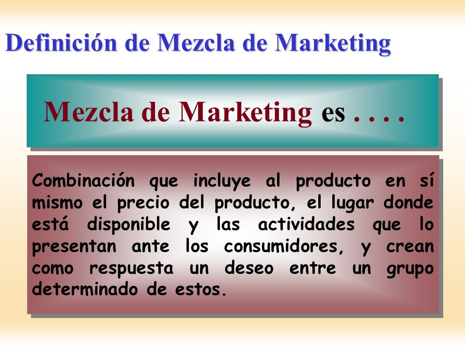 Definición de Mezcla de Marketing