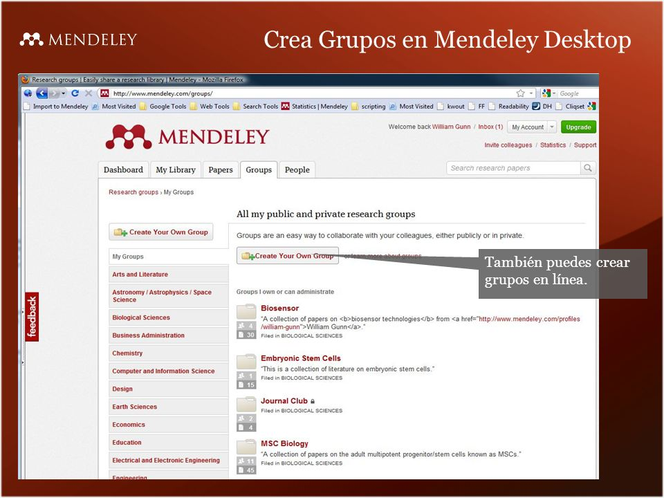 Crea Grupos en Mendeley Desktop