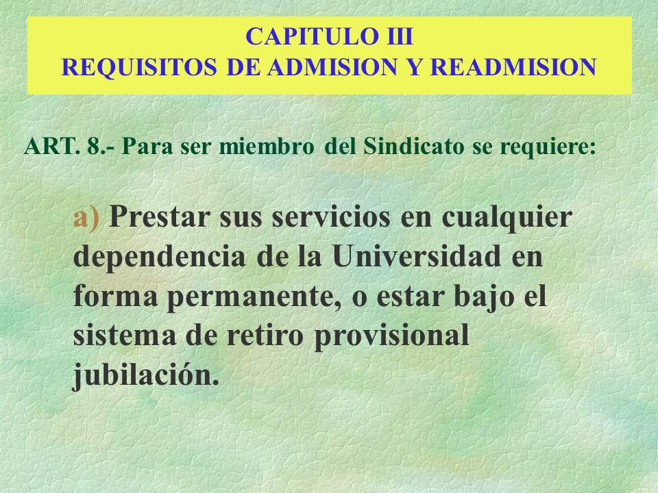 REQUISITOS DE ADMISION Y READMISION