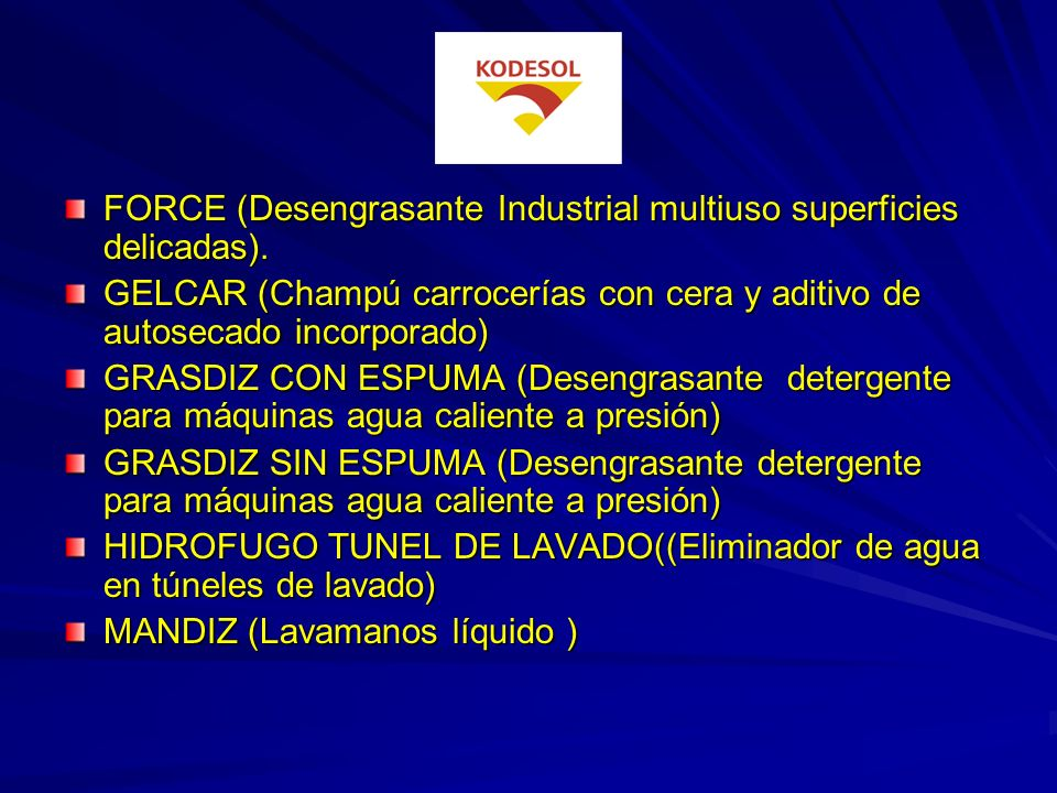 FORCE (Desengrasante Industrial multiuso superficies delicadas).