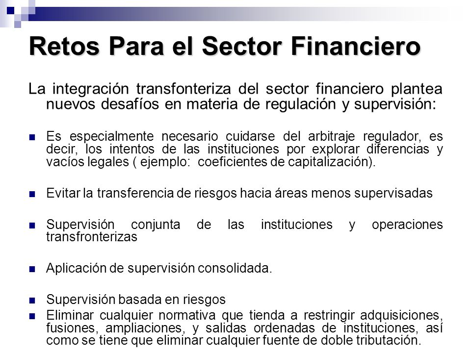 Retos Para el Sector Financiero