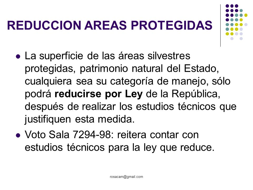 REDUCCION AREAS PROTEGIDAS