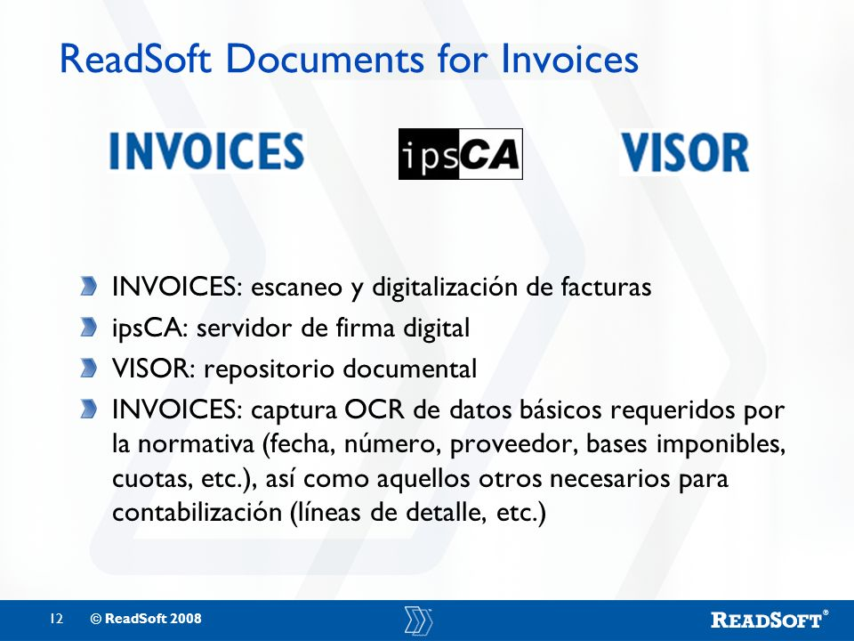 ReadSoft Documents for Invoices