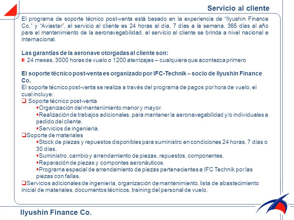 Servicio al cliente Ilyushin Finance Co.