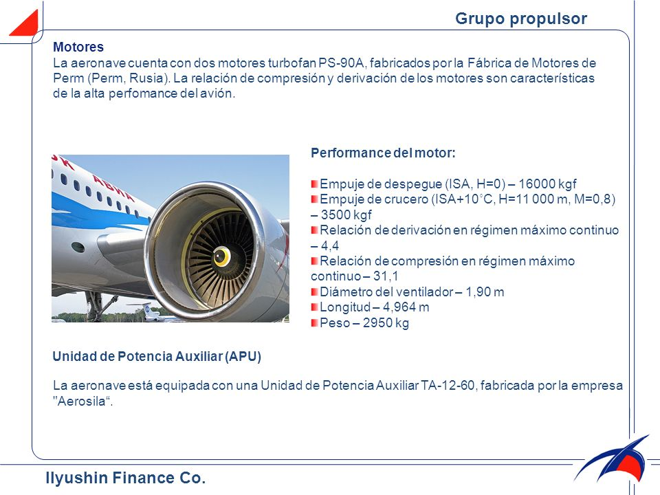 Grupo propulsor Ilyushin Finance Co. Motores