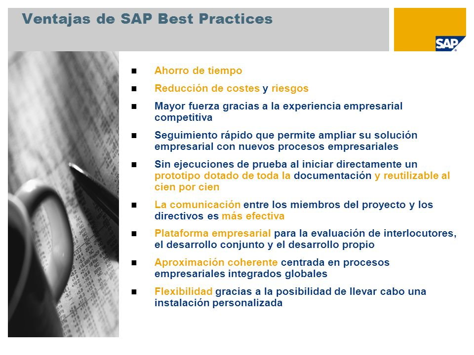 Ventajas de SAP Best Practices