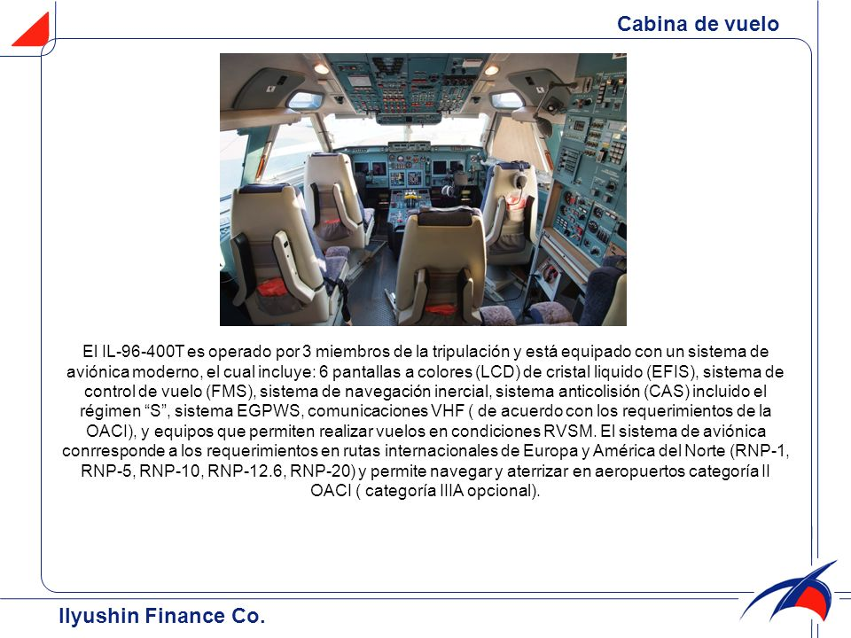 Cabina de vuelo Ilyushin Finance Co.