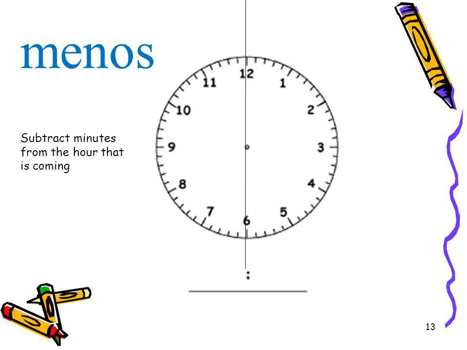 menos Subtract minutes from the hour that is coming
