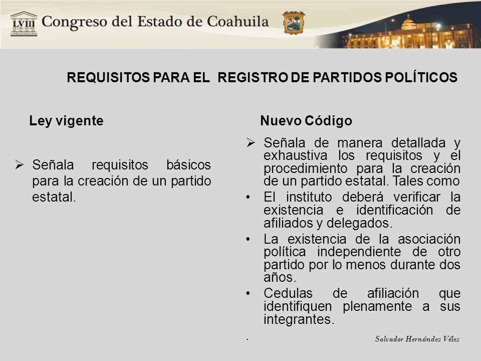 REQUISITOS PARA EL REGISTRO DE PARTIDOS POLÍTICOS