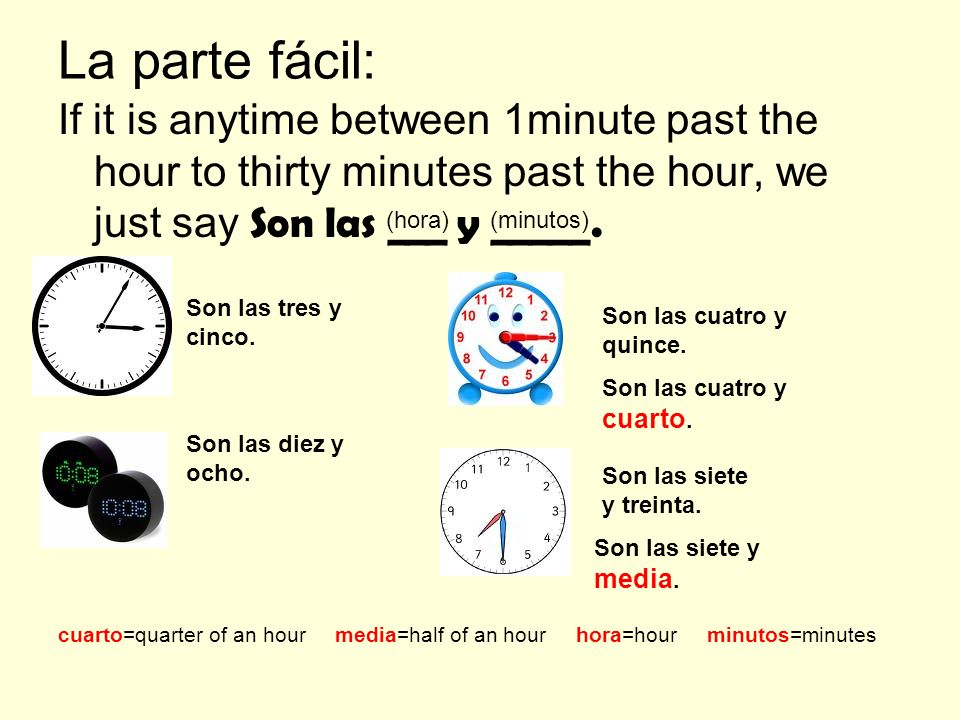 La parte fácil: If it is anytime between 1minute past the hour to thirty minutes past the hour, we just say Son las ___ y _____.