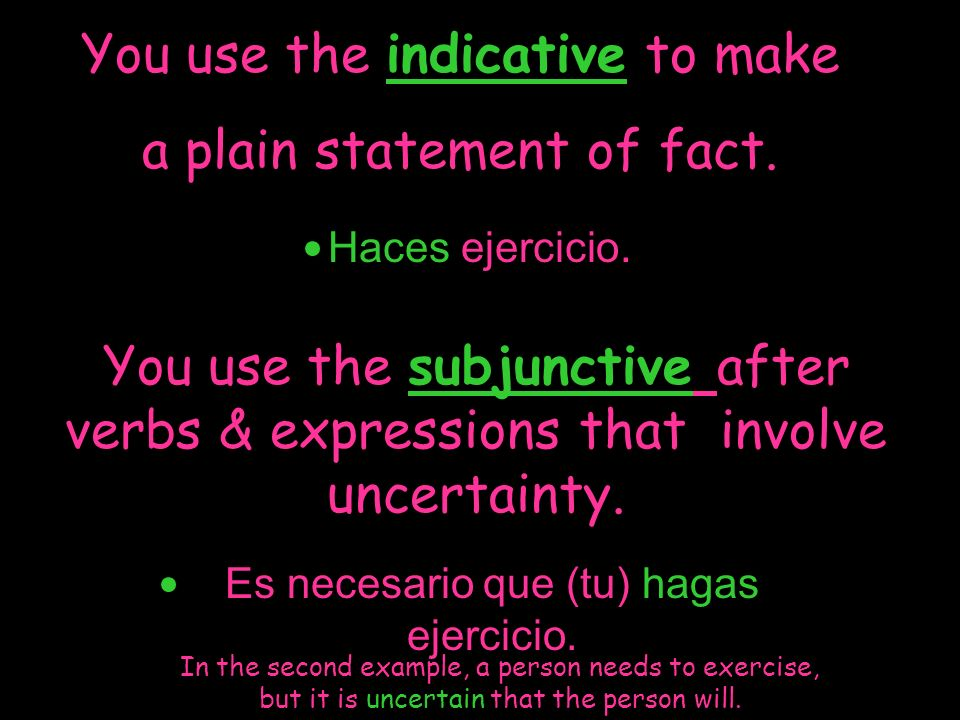 You use the indicative to make a plain statement of fact.