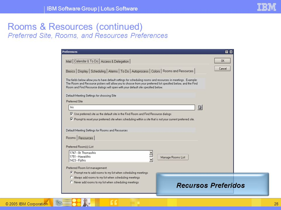 Rooms & Resources (continued) Preferred Site, Rooms, and Resources Preferences