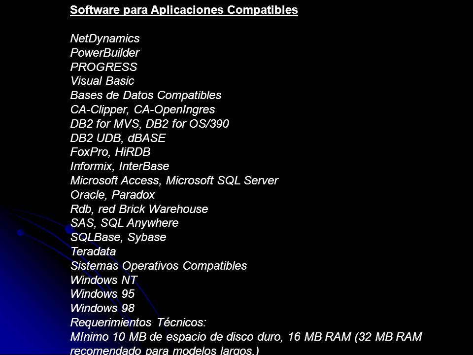 Software para Aplicaciones Compatibles