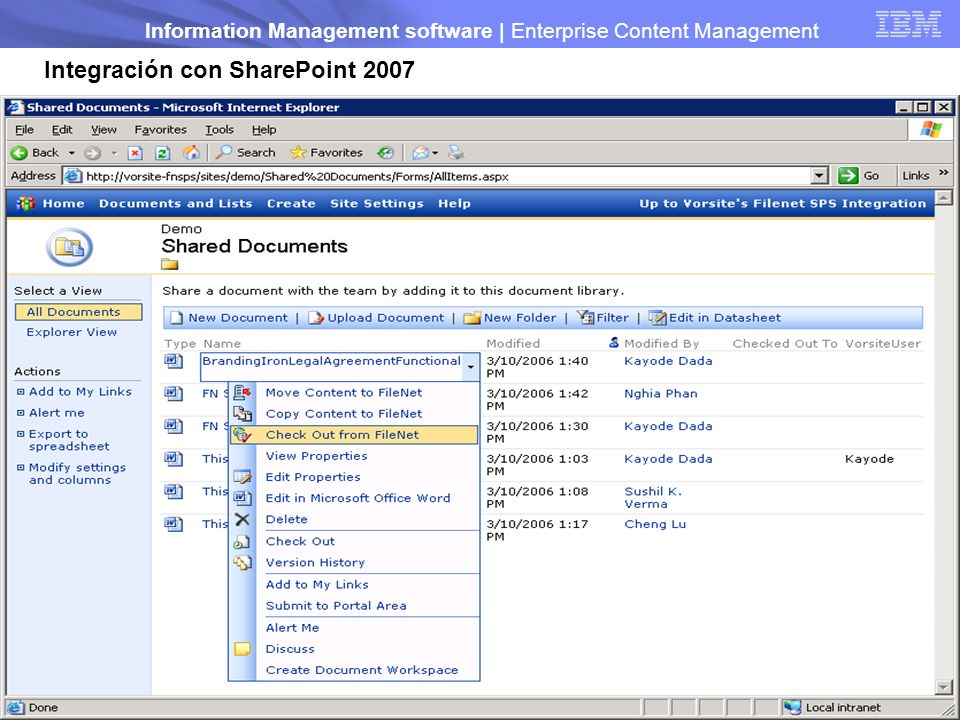 Integración con SharePoint 2007