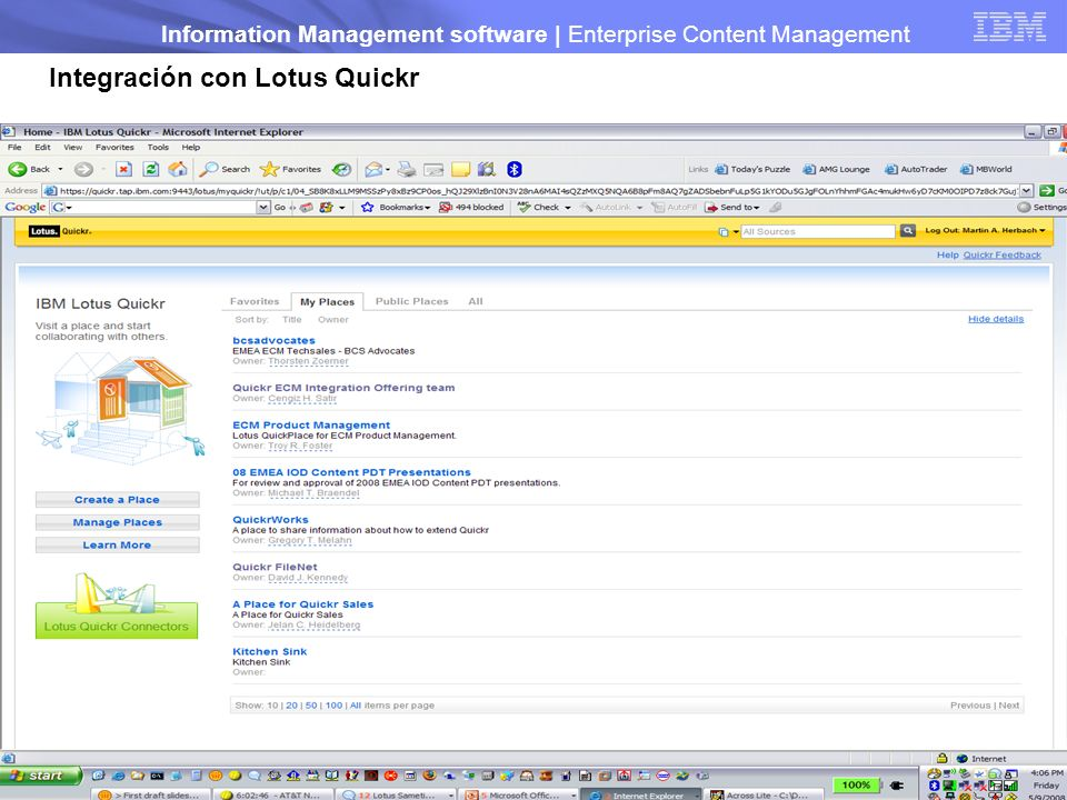 Integración con Lotus Quickr