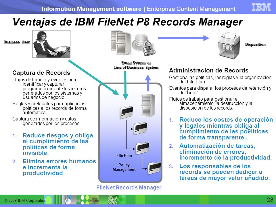 Ventajas de IBM FileNet P8 Records Manager