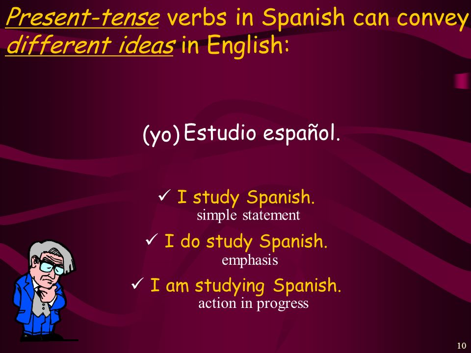 Present-tense verbs in Spanish can convey three different ideas in English: