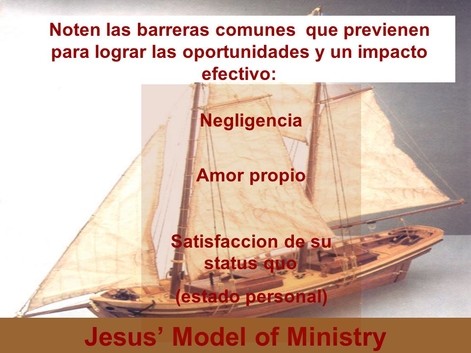 Satisfaccion de su status quo Jesus' Model of Ministry