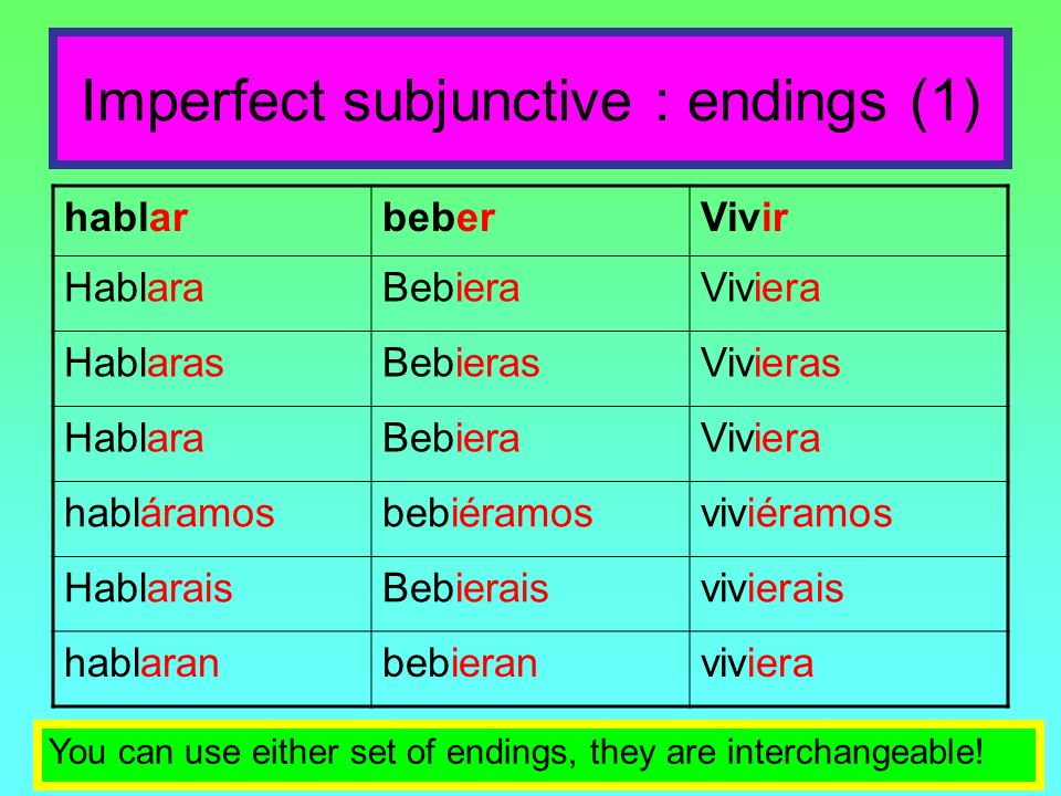 Imperfect subjunctive : endings (1)