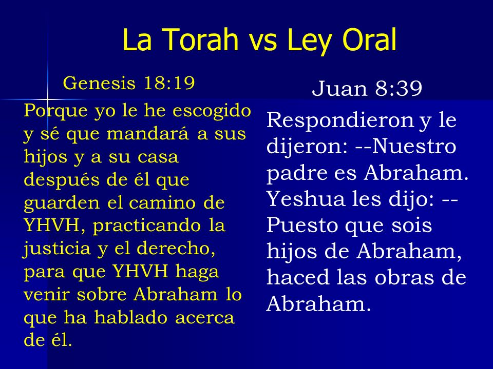 La Torah vs Ley Oral Juan 8:39