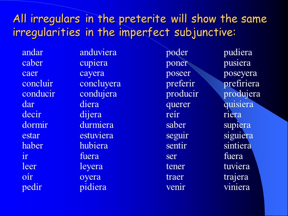 All irregulars in the preterite will show the same irregularities in the imperfect subjunctive: