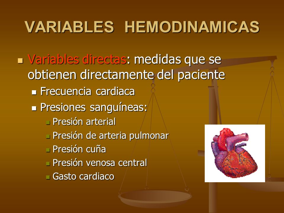 VARIABLES HEMODINAMICAS