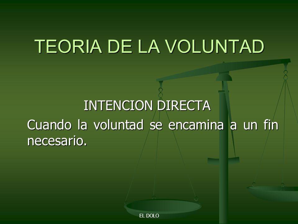 TEORIA DE LA VOLUNTAD INTENCION DIRECTA