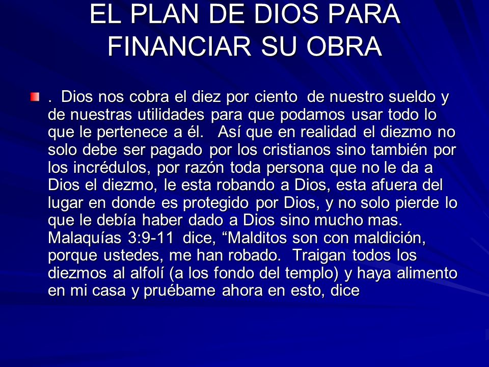 EL PLAN DE DIOS PARA FINANCIAR SU OBRA
