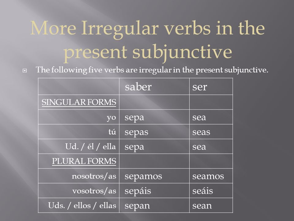 More Irregular verbs in the present subjunctive