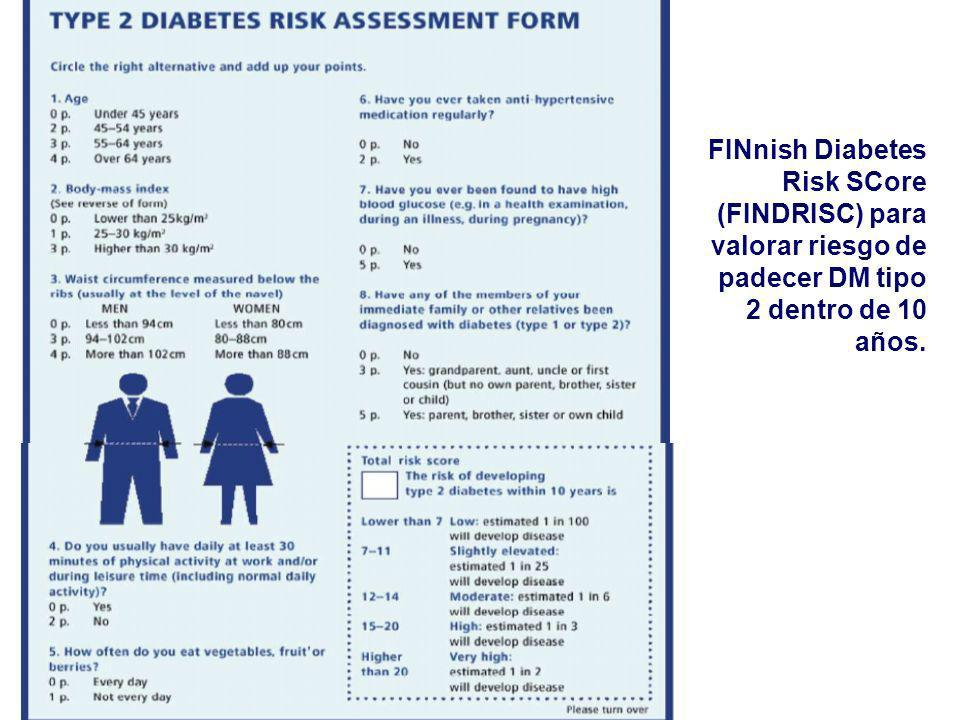 FINnish Diabetes Risk SCore (FINDRISC) para valorar riesgo de padecer DM tipo 2 dentro de 10 años.