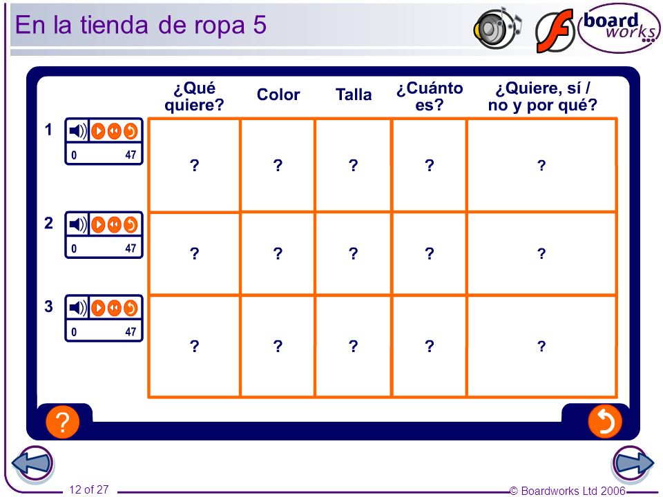 En la tienda de ropa 5 Pupils listen and fill in the table with the appropriate details. Transcript: