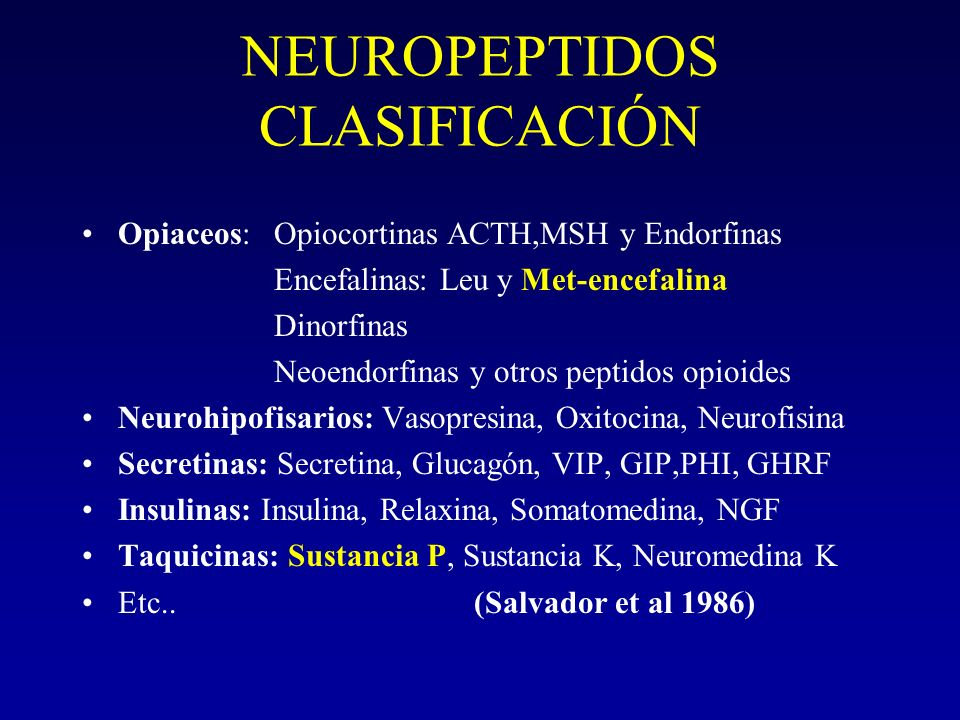 NEUROPEPTIDOS CLASIFICACIÓN