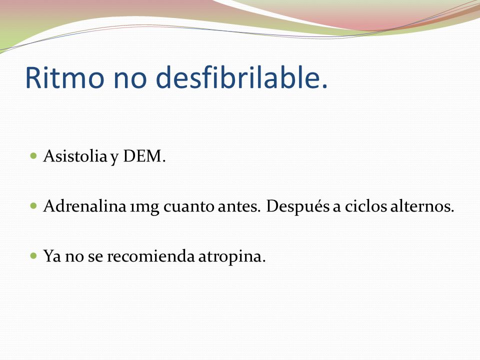 Ritmo no desfibrilable.