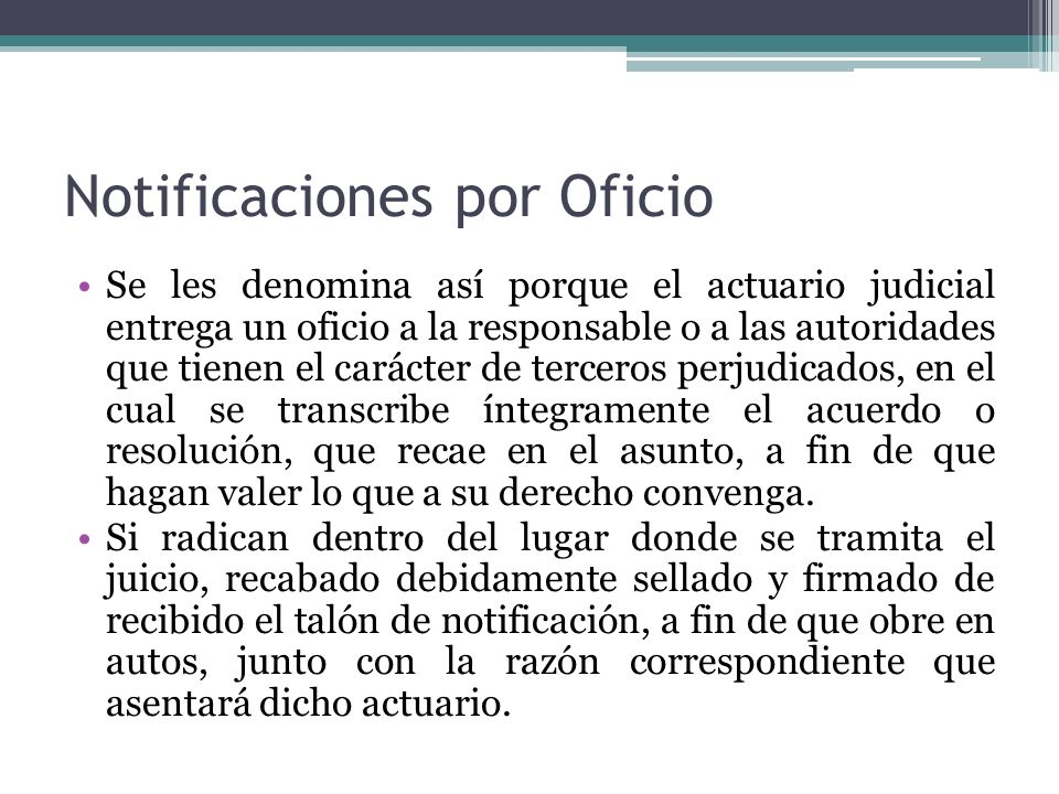 Notificaciones por Oficio