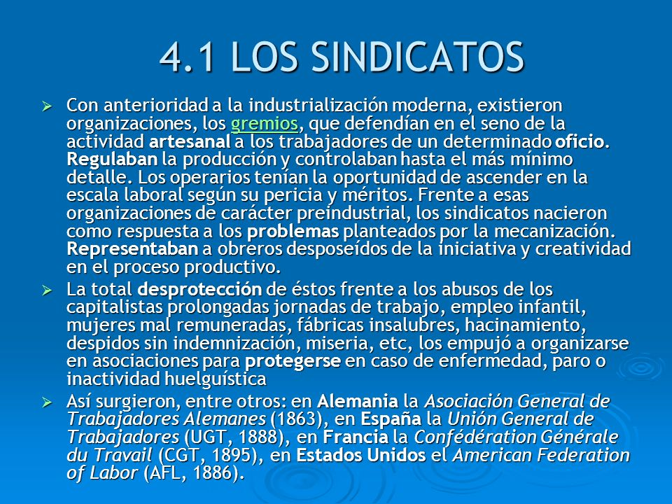 4.1 LOS SINDICATOS