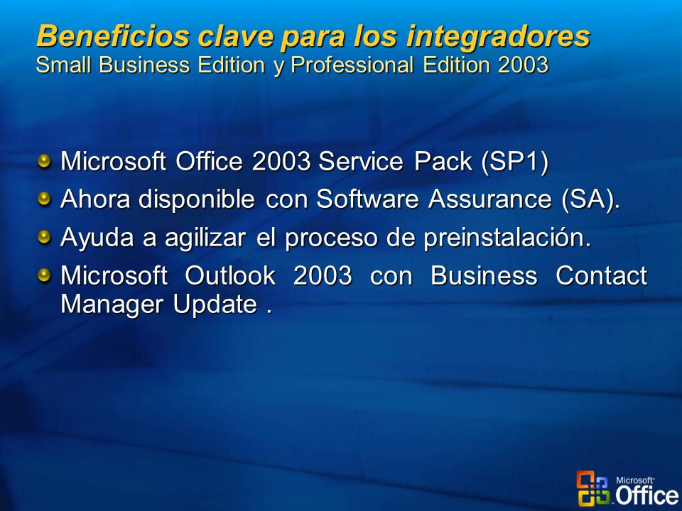 Beneficios clave para los integradores Small Business Edition y Professional Edition 2003