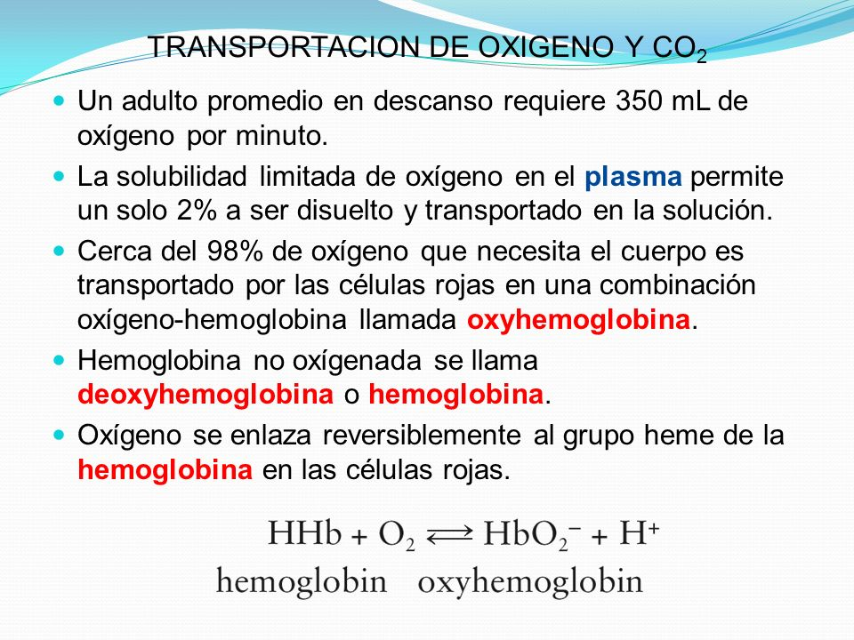 TRANSPORTACION DE OXIGENO Y CO2