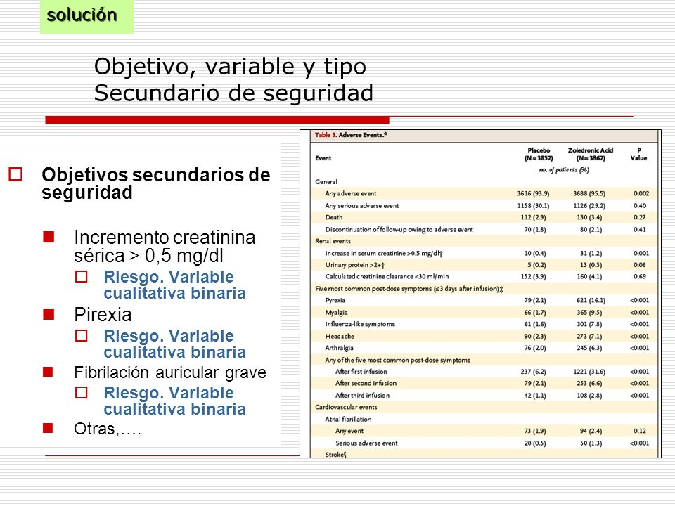 Objetivo, variable y tipo Secundario de seguridad