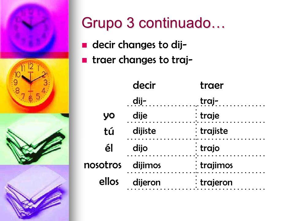 Grupo 3 continuado… decir changes to dij- traer changes to traj- decir