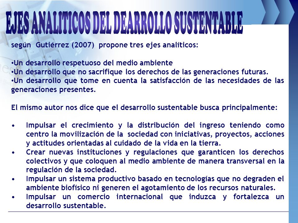 EJES ANALITICOS DEL DEARROLLO SUSTENTABLE